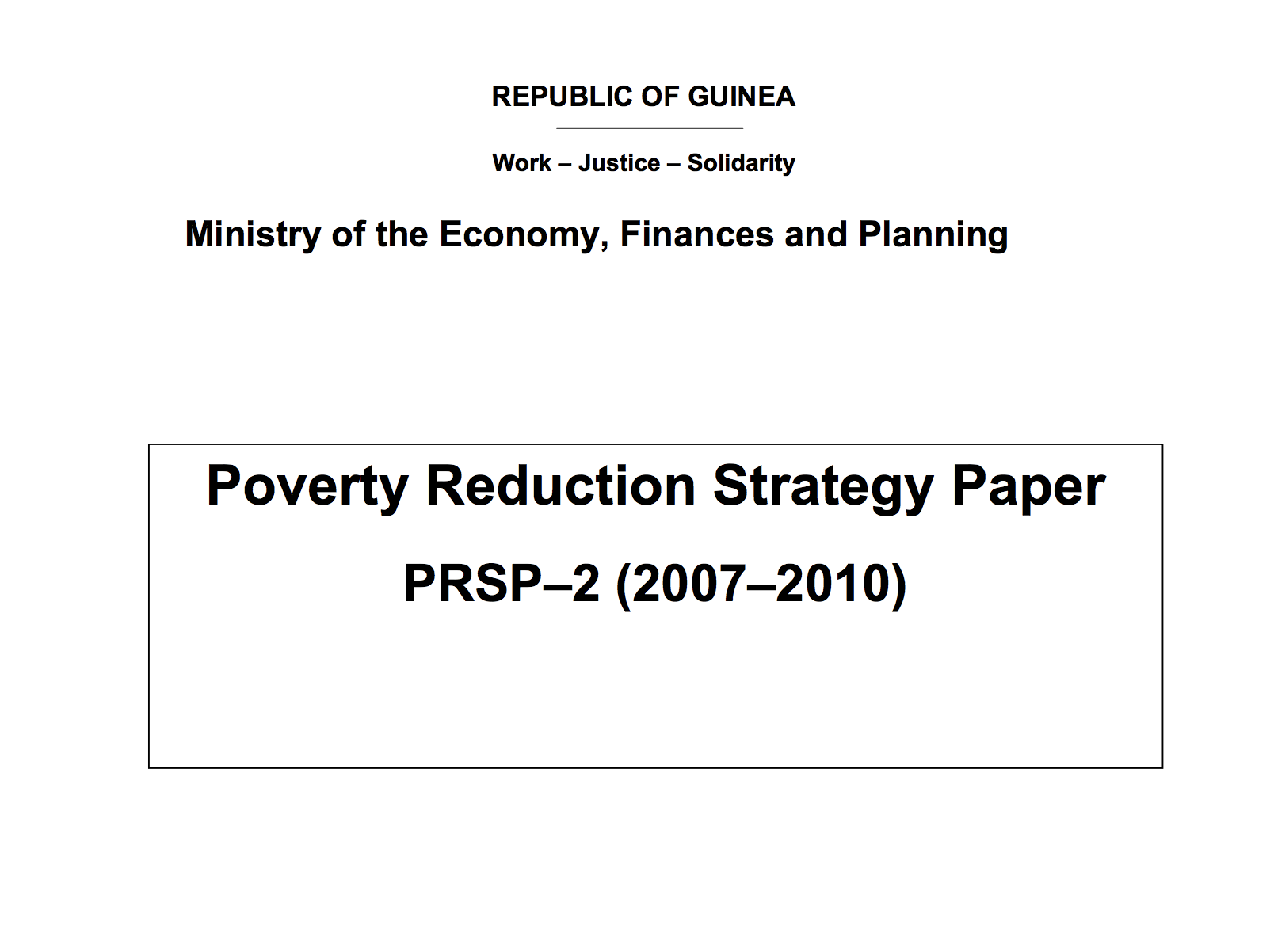 Guinea Poverty Reduction Strategy Paper Imf Country Report 08 07